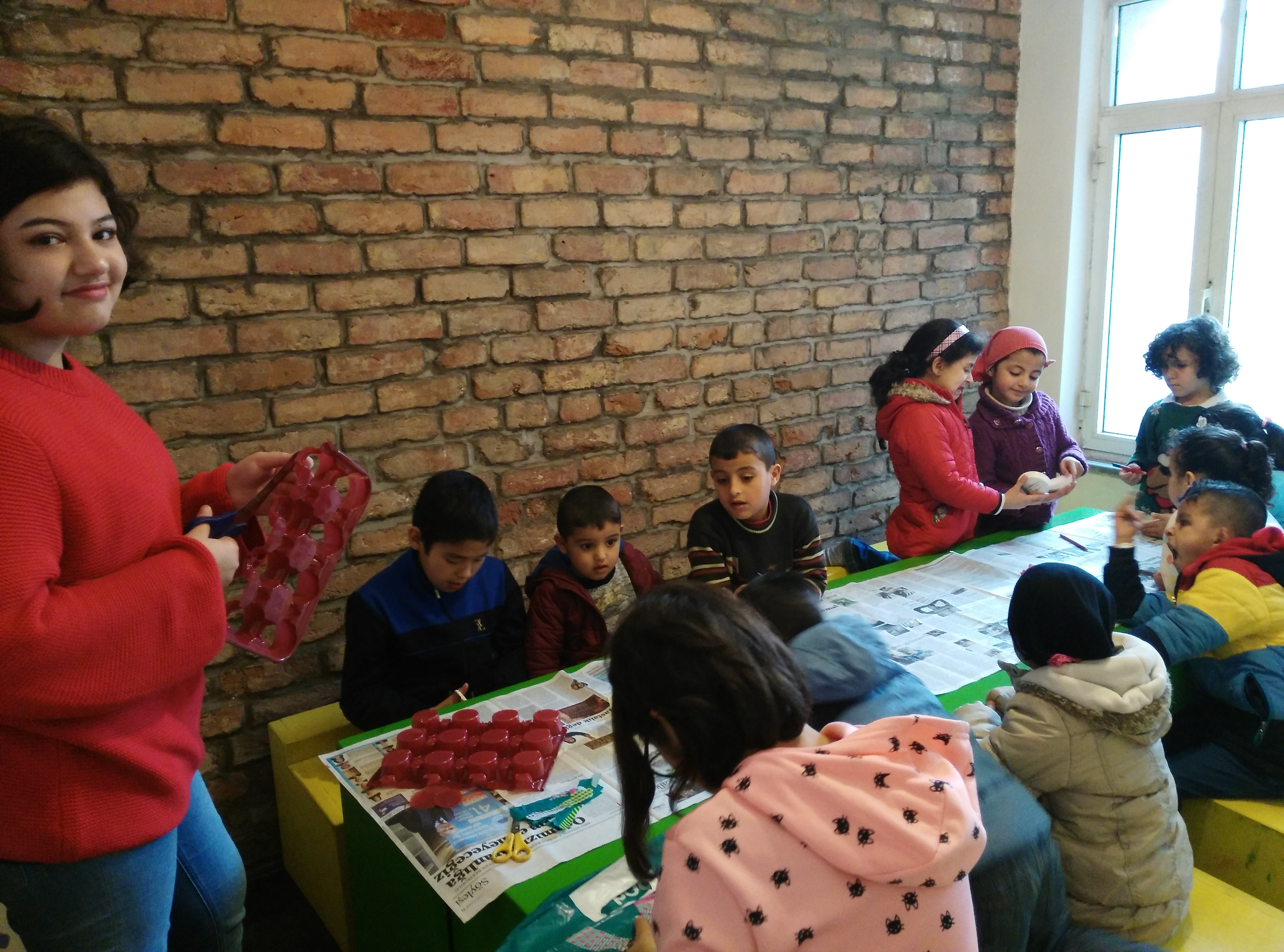Amal with Syrian refugee children in Turkey